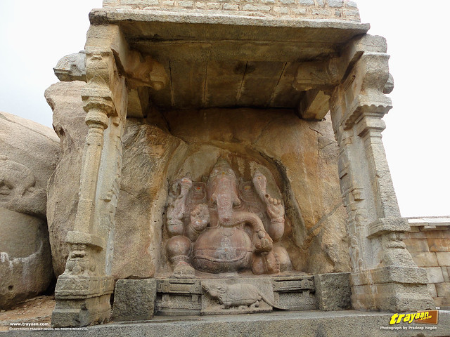The monolithic Ganapathi sculpture inside the Veerabhadra Swamy Temple complex at Lepakshi, in Andhra Pradesh, India