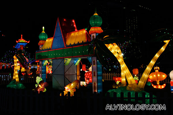 A large lantern display in the middle of the field