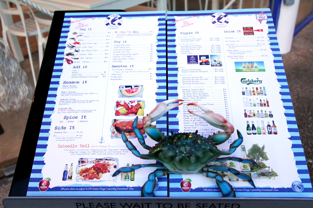 Crab in da Bag Menu