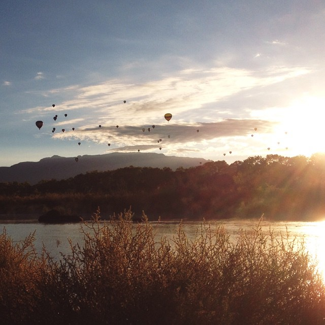 After an early morning wake-up to say goodbye to Jesse's parents, we decided to make the most of this beautiful Sunday start and head over to the bosque to watch the last mass ascension of #balloonfiesta. Hot drinks in hand, of course. #riogrande #abq #ne