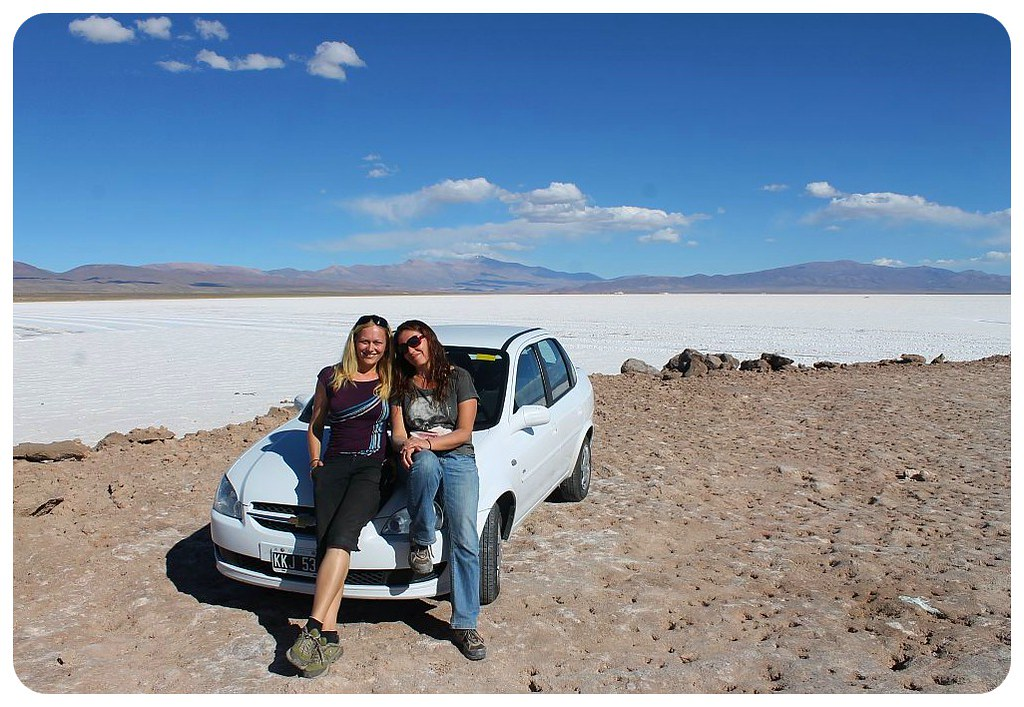 argentina salt flats dani & jess with car