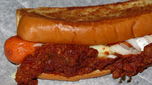 Hot dog with meat sauce and onions by Coyoty