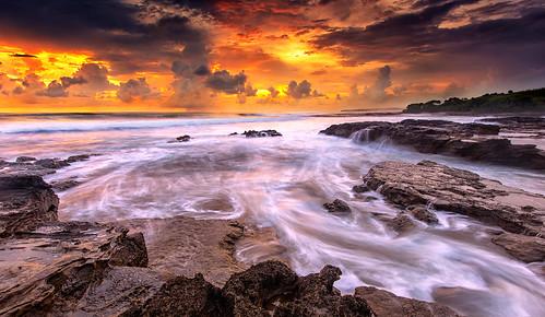 sunset west beach rock indonesia java wave garut slowspeed cicalobak