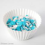 Blue & white sugar dots