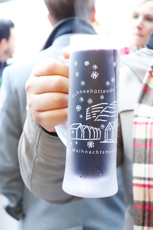 Dusseldorf Christmas market Schneehuttendorf gluhwein