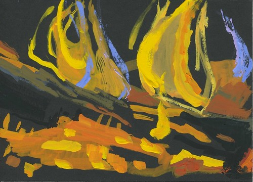 fire study in gouache by Bricoleur's Daughter