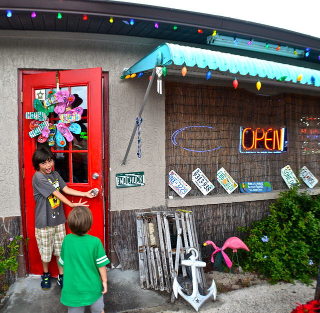 kids at the entrance of becky jacks food shack