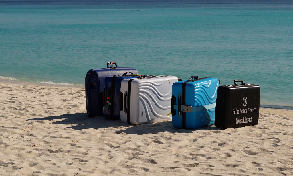 Luggage waiting for the seaplane, Madhiriguraidhoo, Lhaviyani Atoll, Maldives