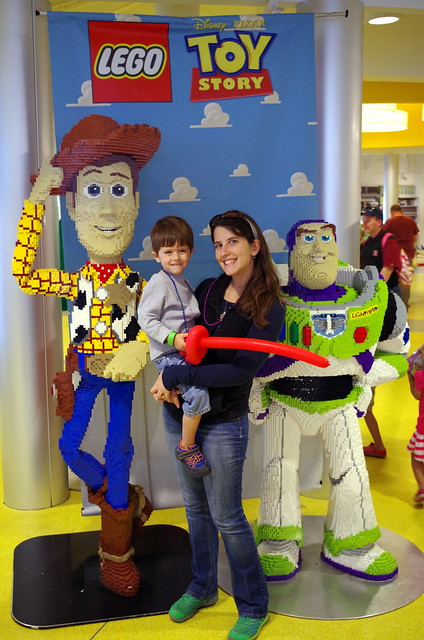 Carter and Michele with Lego Woody and Buzz Lightyear