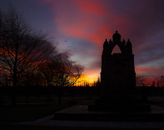 Stunning sunrise over the War Memorial in Kings park. Dalkeith. I liked the silhouette effect in this capture with the birds flying over....