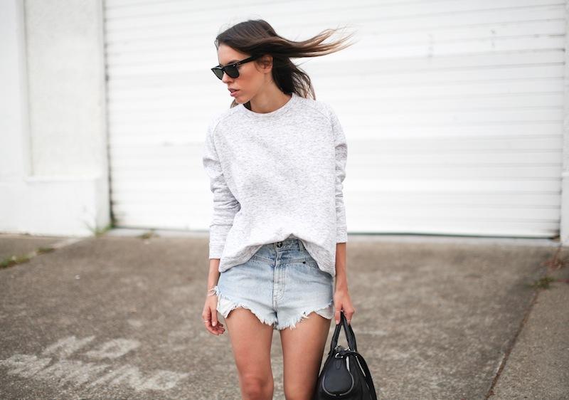 modern legacy fashion blogger Australia street style one teaspoon cutoff denim shorts heather grey sweatshirt suede ankle boots alexander wang jamie chastity bag  (6 of 10)