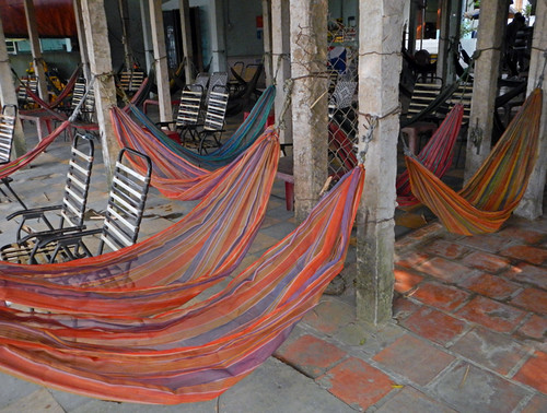 Hammock cafe along the road between HCMC and the Mekong