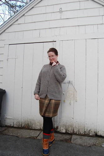 Knitted cardigan, socks; upcycled skirt