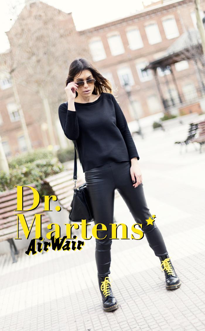 street style barbara crespo dr. martens yellow and black fashion blogger outfit blog de moda