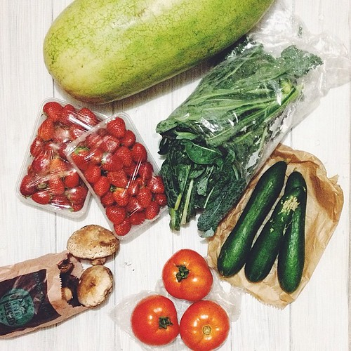 Today's haul from @eveleighmarkets - most exciting item by far is the 6kg watermelon. All others running close second. #realfood #eatyourveggies #whatsfordinner #vscocam #vsco