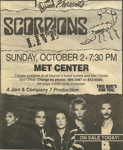 10/02/88 Scorpions @ Met Center, Bloomington, MN (Ad 1)