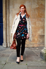 Floral dress layered with jeans