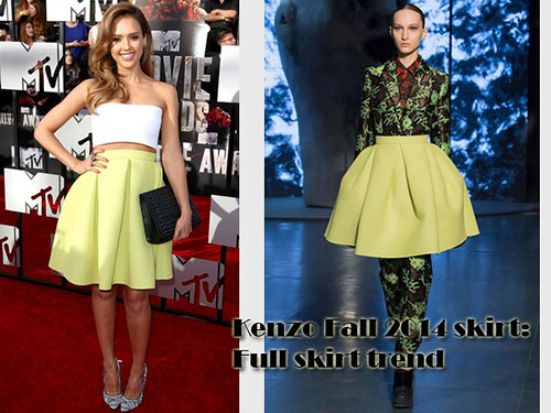 Full skirts trend: Lemon yellow high-waisted Kenzo skirt