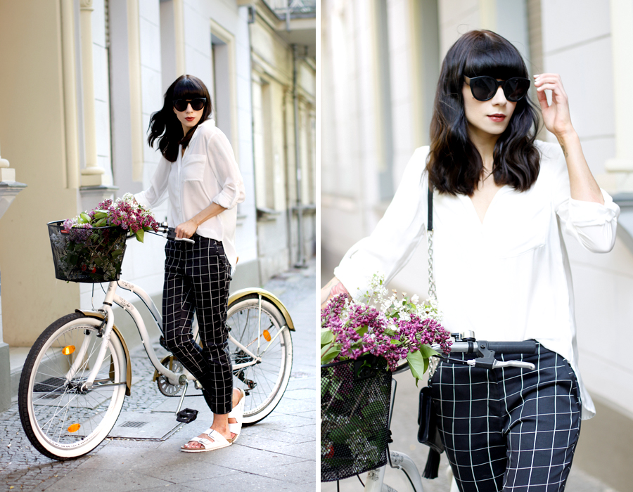 Square pants sixties style white blouse H&M diane von furstenberg dvf birkenstock spring outfit bycicle bike city chic berlin CATS & DOGS fashion blog Ricarda Schernus 7