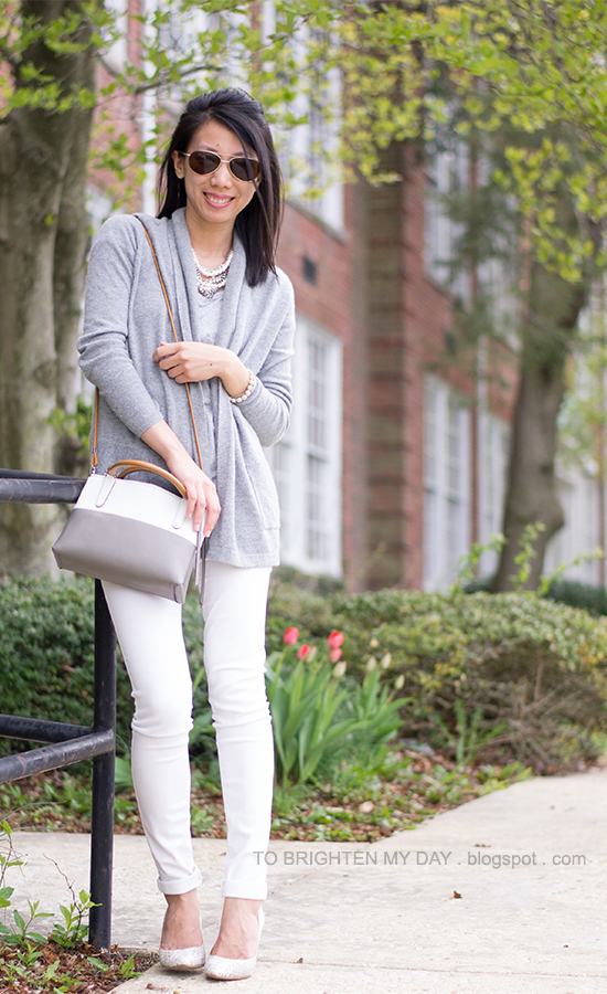 mixed statement necklace, gray open cardigan, gray tee, white jeans