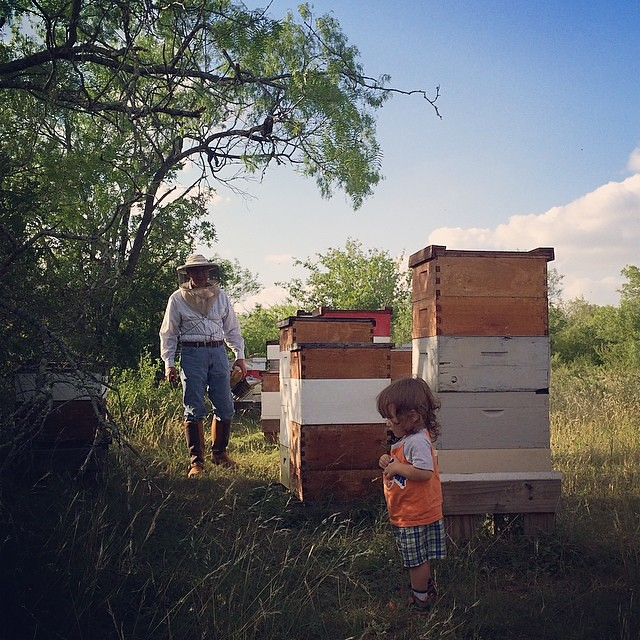 Granbady and the beekeeper at Cibolo Creek bee yard