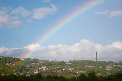 Rainbow across Sowerby Bridge, a filming location for Happy Valley