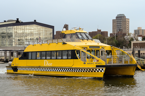 Christian Dior-branded New York City ferry docked on 35th street pier