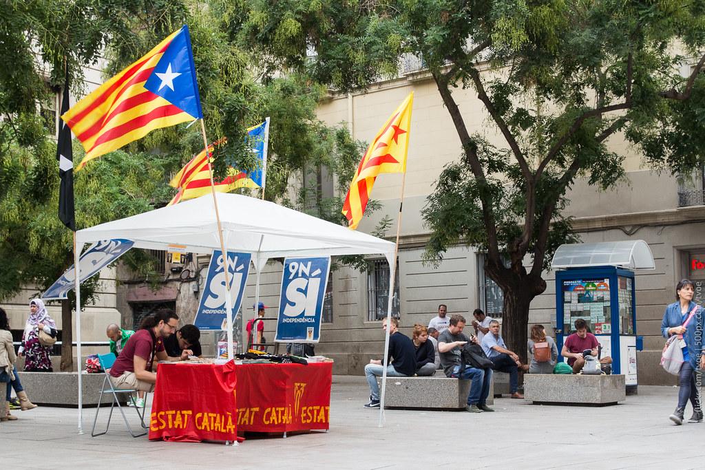 Палатка агитирует за независимость Каталонии в Барселоне