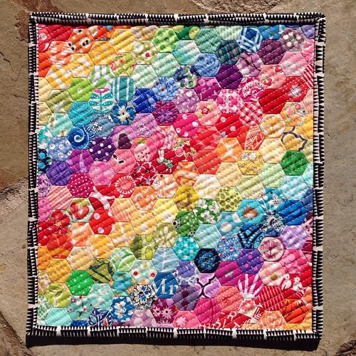 "Rainbow Hexie Mini - 10"" x 12"" using 1/2"" hexagons"