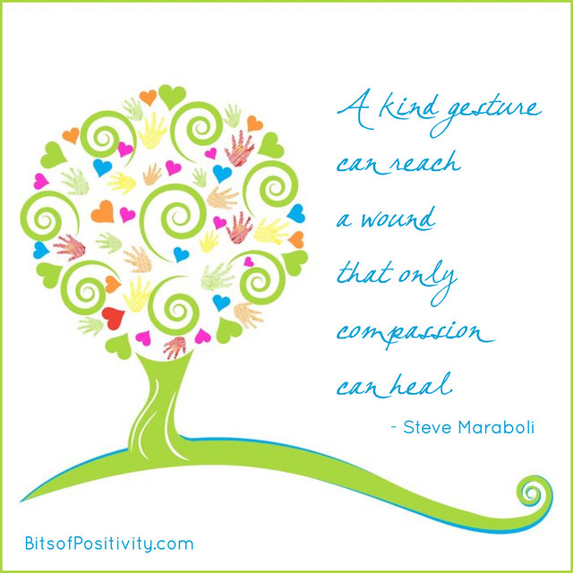 """""""A kind gesture can reach a wound that only compassion can heal."""" Steve Maraboli"""
