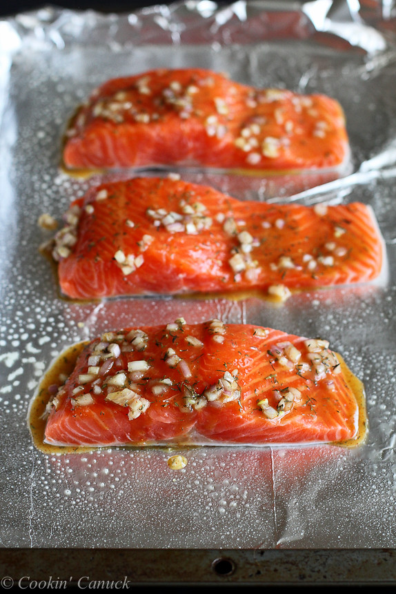 Maple Dijon Baked Salmon...A flavorful, healthy and easy dinner recipe. You're going to love this one! 237 calories and 5 Weight Watchers SmartPoint