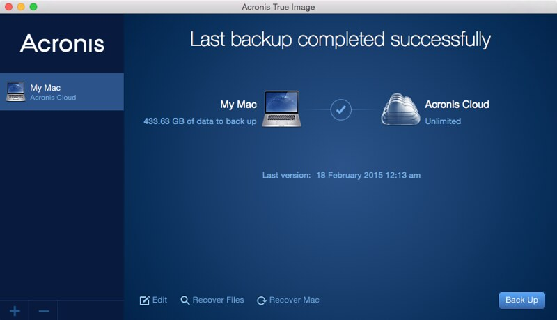 Acronis True Image 2015 - Settings - Back Up Done