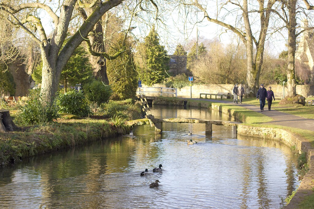 Bourton On the Water Cotswolds Gloucester England Houses River Stream Slate