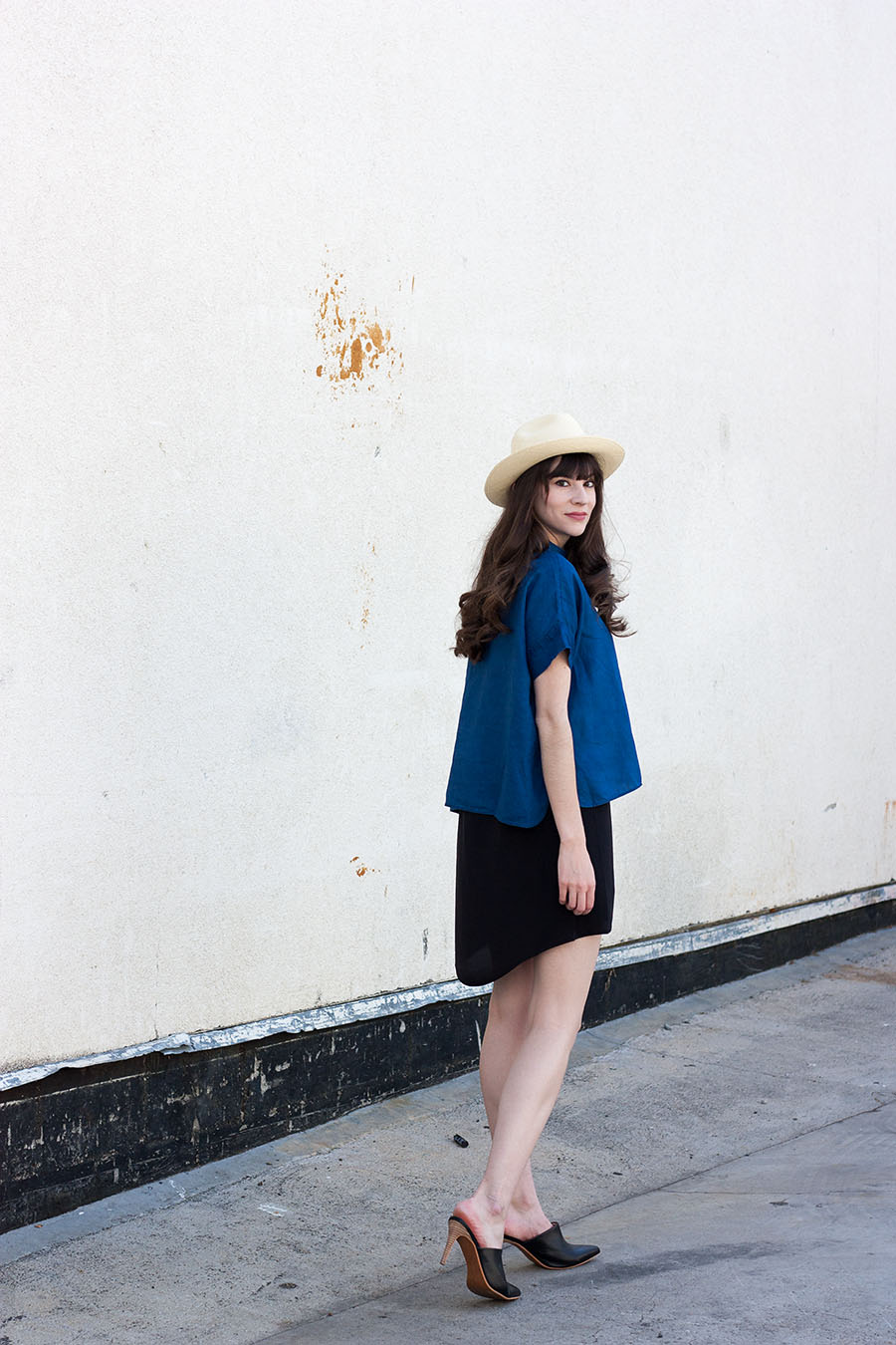 Everlane, Linen Square Shirt, Panama Hat, Black Silk Dress, Summer Style