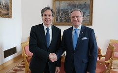 Deputy Secretary of State Antony 'Tony' Blinken poses for a photo with Krzysztof Szczerski, foreign policy adviser to Polish President Andrzej Duda, before a meeting to discuss bilateral and regional issues, including this summer's NATO summit in Warsaw and the ongoing crisis in Ukraine, on May 5, 2016, in Warsaw, Poland. [State Department photo/ Public Domain]