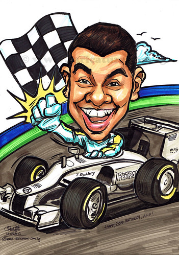 Birthday caricature in Formula One
