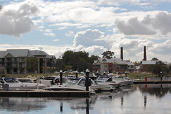 Residents' boats at Ascot Waters.