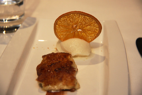Caramelized brioche toast with lime ice cream and crunchy orange