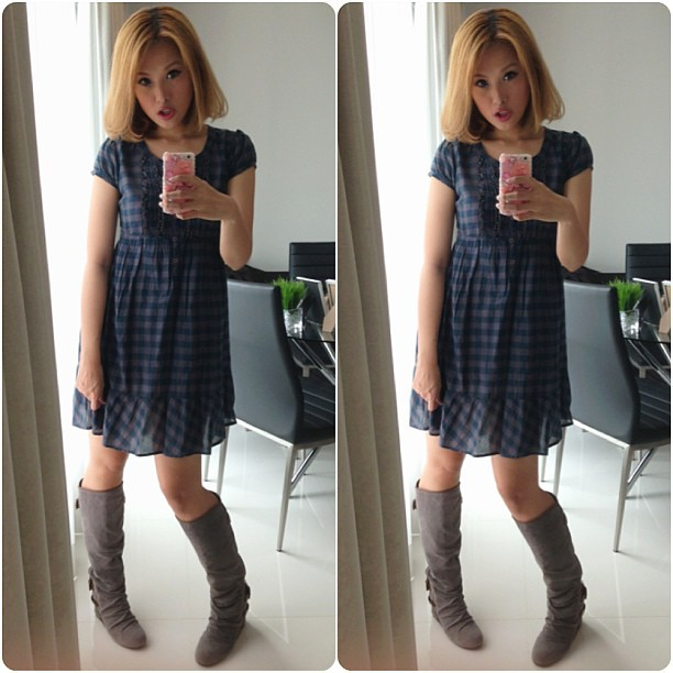 Dolly duo. #ootd #lotd #fashion #instafashion #lookoftheday #outfitoftheday #aldo #boots #hm @hm #babydoll @clozetteco