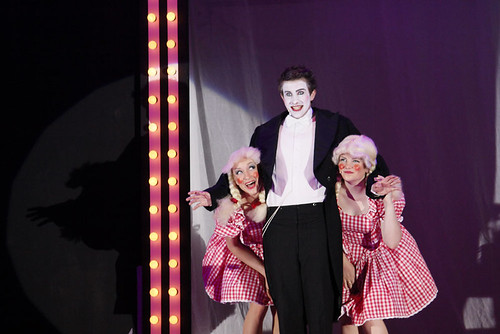 Ruairidh Holwill (Emcee) with Gabriella Morris and Gina Niven (Two Ladies) in George Watson's production of Cabaret. Photo © Fiona MacFarlane