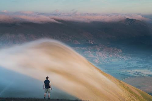 uk sunset summer mist lake fog clouds canon evening nationalpark view northwest dusk lakes lakedistrict peak valley cumbria littleman summit derwentwater skiddaw thomasheaton viewfromskiddaw 5dmarkiii
