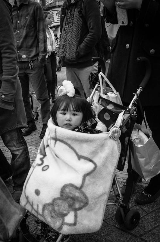 Child in Hello Kitty pram, Shibuya, Tokyo.