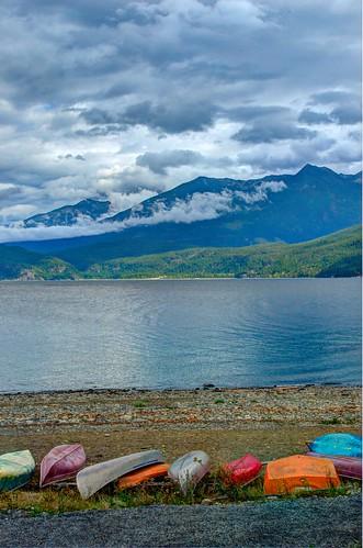 mountains clouds boats special canoes hdr kootenaylake selkirkmountains selkirks selkirkloop