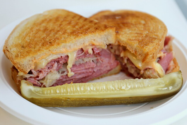 Pastrami, Swiss cheese, coleslaw and Russian dressing on grilled rye