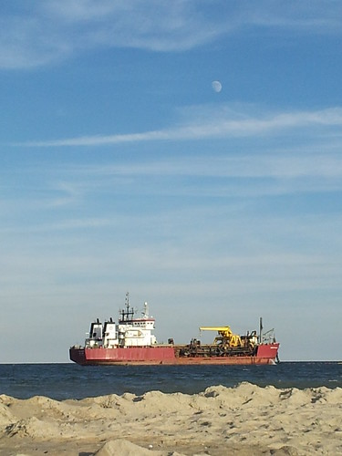 Moon over Sand Dredger