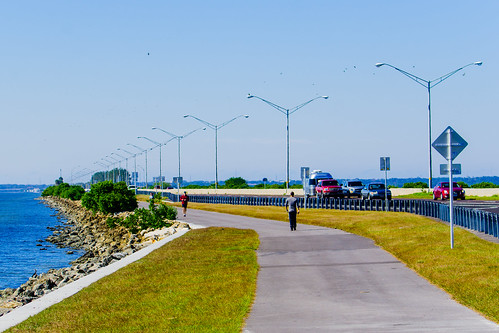 Pedestrian trail alongside Courtney Campbell Causeway connectes Tampa, Clearwater and St. Petersburg, Florida