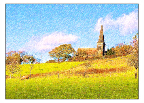christchurch england painterly art church painting landscapes artwork colours christ faith hill farmland lancashire fields christianity crayon parbold snapart parboldhill applecrypt