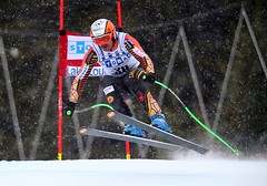 Jan Hudec in action during a training run at the FIS Alpine World Cup in Lake Louise, CAN