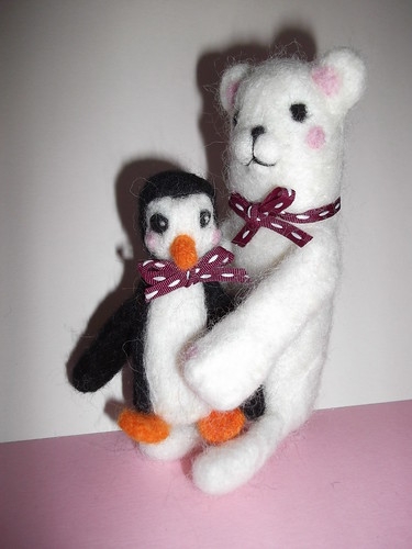 Needle felted Penguin and Polar Bear
