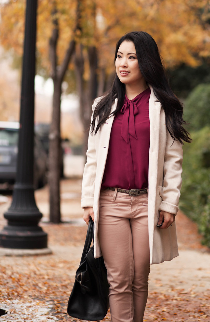 cute & little blog | white coat, red bow blouse, pink moto pants outfit